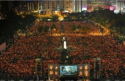 現場錄像:香港15萬人悼念六四22周年