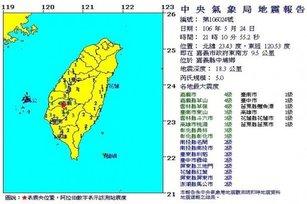 嘉義地區今天傍晚起已經連續5震,震央都在中埔,最大規模5。(圖/中央氣象局)