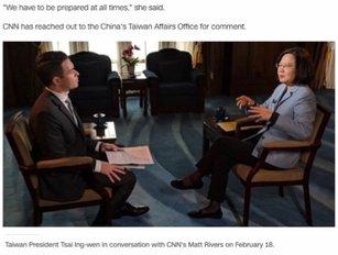 總統蔡英文接受《CNN》的獨家專訪。(翻攝自 CNN 官網)