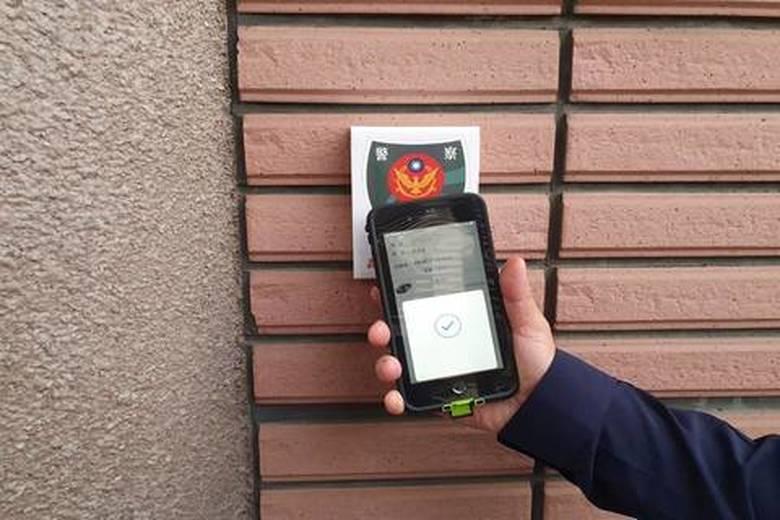 NFC TAG晶片結合現行M-Police行動載具開發「嘉e巡簽」APP,打造智慧化巡邏系統。(嘉義市警察局提供)